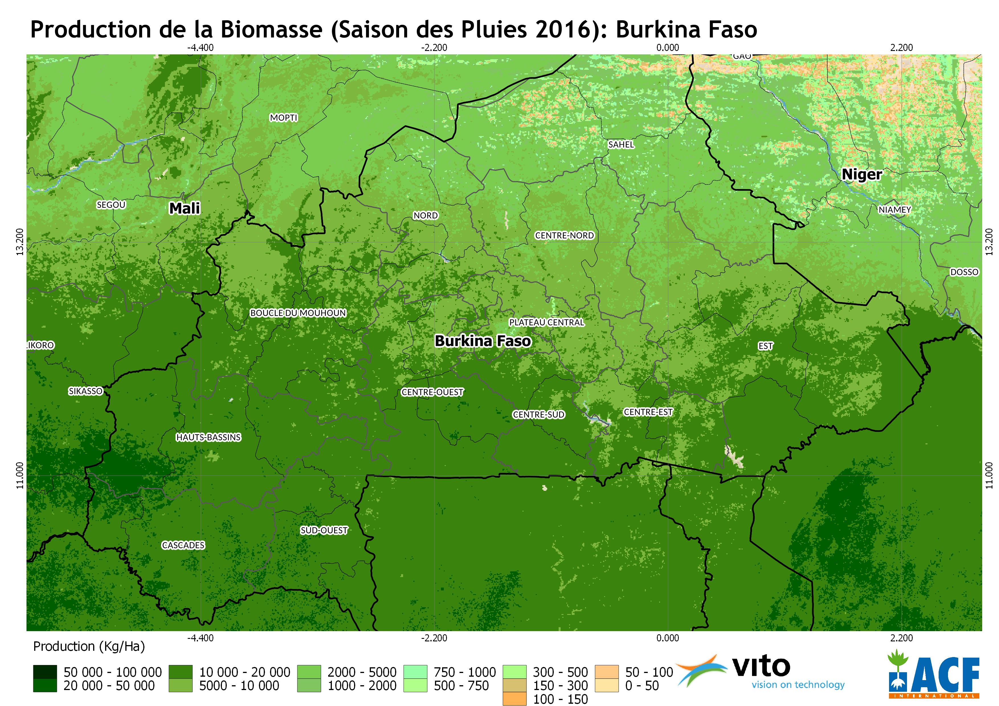 Production de la Biomasse en Kg/ha 2016