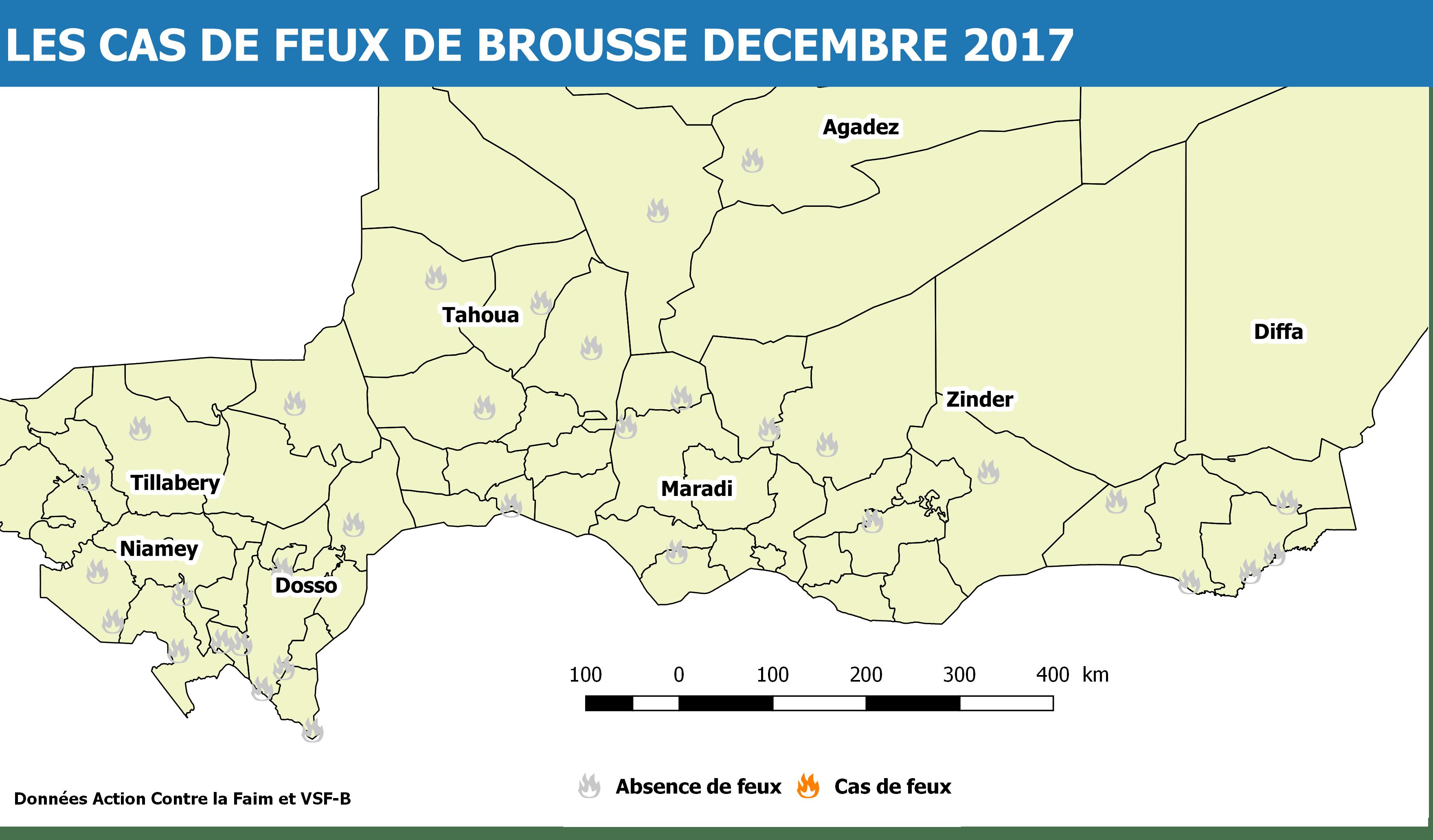 Présence de Feux de brousse Dec. 2017